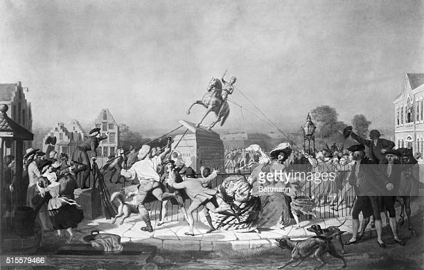 Tearing down the Statue of George III in New York City Revolutionary War William Walcutt Painted 1857