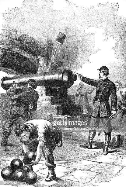 1860s UNION SOLDIERS FIRING CANNON AT FORT SUMTER CHARLESTON HARBOR SOUTH CAROLINA USA
