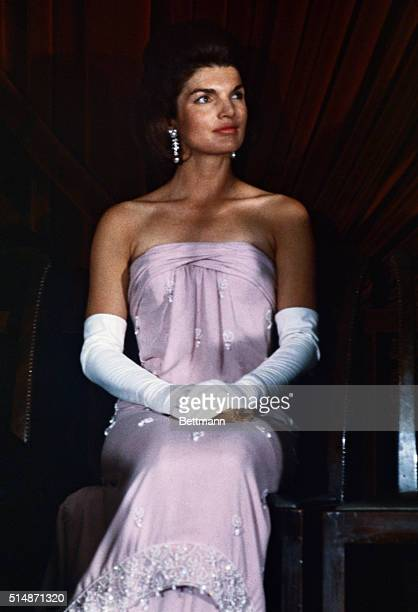 1/8/63Washington DC Unveiling ceremonies at National Gallery of Art Closeup of First Lady Jacqueline Kennedy in a strapless evening gown and elbow...