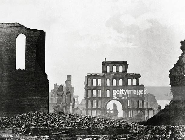 Chicago, Illinois-The Chicago Fire. Photo shows rubble and shells of buildings after the Chicago fire 1871.