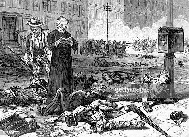 Violence during the railroad strike at Pittsburgh 1877 Priest administering last rites and troops retreating from the burning roundhouse Woodcut