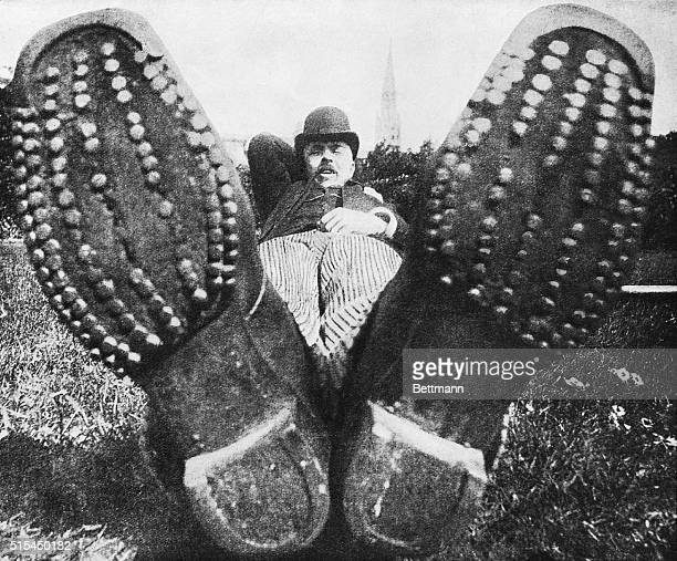 1880Aberdeen ScotlandPhotograph illustrating the laws of perspective in that a man's shoes are distorted to be larger than his body
