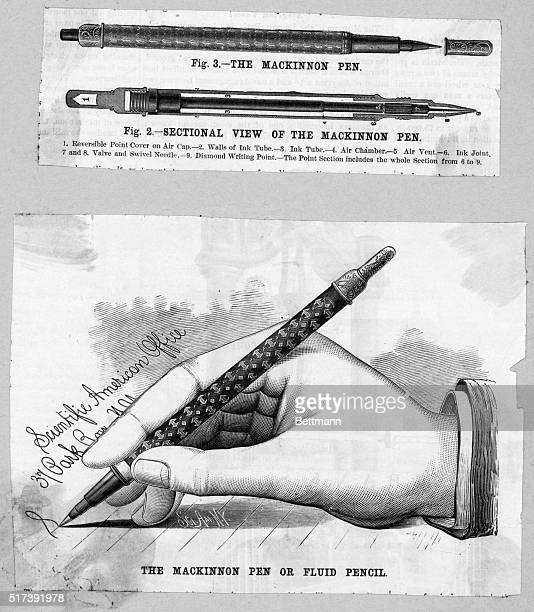 Advertisement for the Mackinnon pen or fluid pencil depicting a hand using the pen. Also, a sectional view of the pen is shown. Undated illustration.