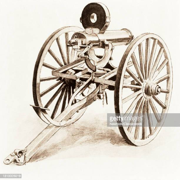 1880s Drawing Of A Gatling Machine Gun United States Army Field Artillery Piece Ready For Action With Accles Feed Drum Magazine.