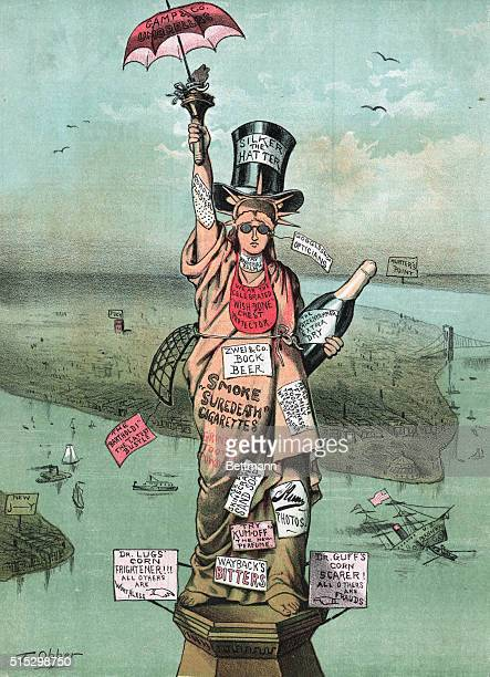 1885'Let the advertising agents take charge of the Bartholdi business and the money will be raised without delay' Photo shows advertising hung...