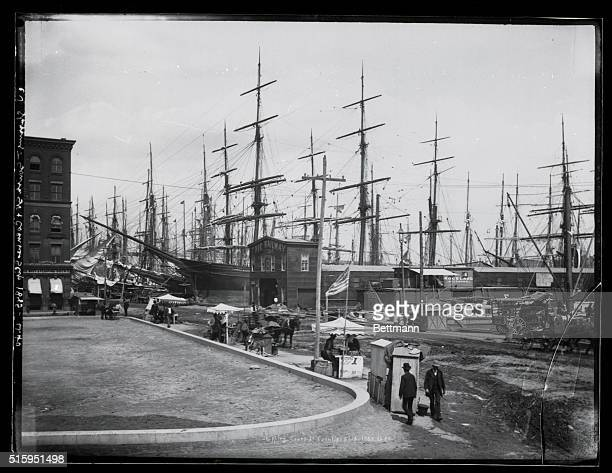 Shipping on South Street and Coentis Slip: A forest of sailboat masts. Photograph 1885.