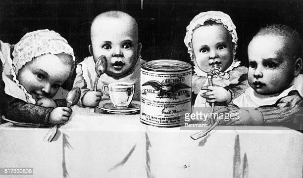 Early Borden advertisement of their condensed milk showing the benefit of their product to infant upbringing Lithograph