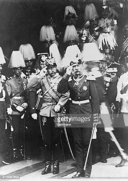 Berlin, Germany: William II and Emperor Franz Joseph during a parade in Berlin, 1889.