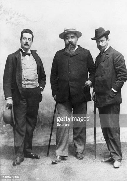 Puccini with his librettists, Illich and Gracasa. Photograph, 1890. BPA2# 3478