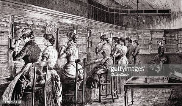 1890s 1800s 1900s TURN OF CENTURY ENGRAVING OF WOMEN TELEPHONE SWITCHBOARD OPERATORS IN CENTRAL OFFICE LONG DRESSES HIGH STOOLS