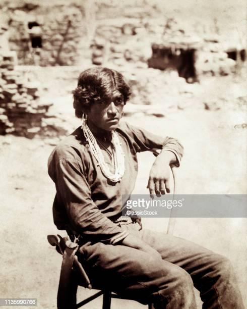 1890s PORTRAIT NATIVE AMERICAN YOUNG HOPI INDIAN TEENAGE MAN BY G WHARTON JAMES ORAIBI PUEBLO NAVAJO COUNTY ARIZONA USA