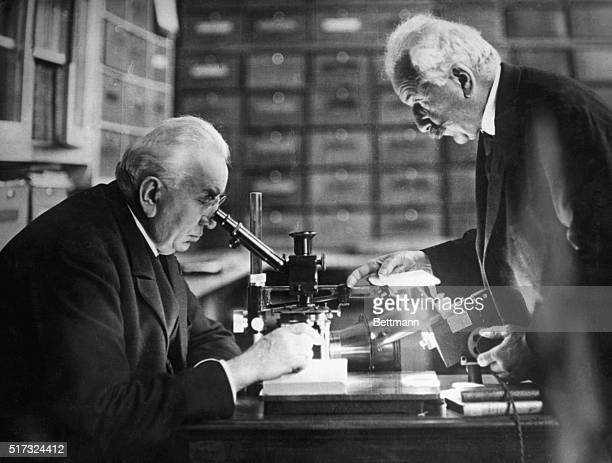 Auguste Lumiere and Louis Jean Lumiere in their laboratory at Lyon France The Lumiere brothers invented the Lumiere process of color photography and...