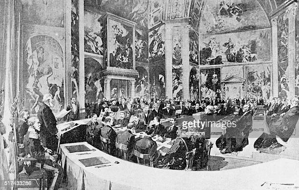 Hague, Holland- Drawing of the opening session of the Peace Conference in the Orange Room at the Palais Du Bois, near the Hague.
