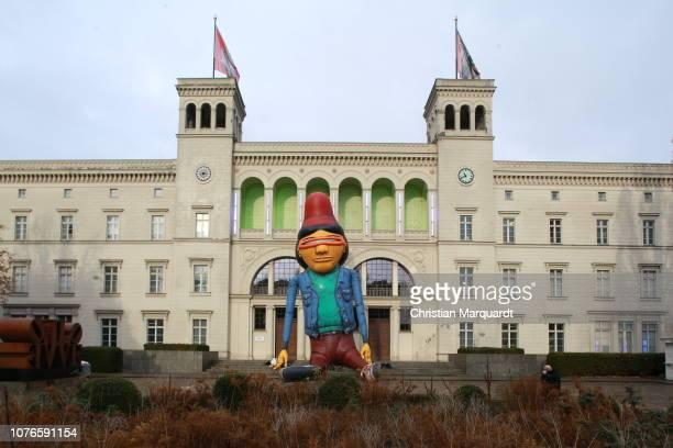 18m high giant figure, created by the Brazilian Artist OSGEMEOS floats during a press Call for the upcoming live show' 'Bilder einer Ausstellung'...