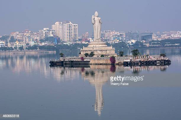 A 18meter high Buddha statue stands in the middle of Hyderabad's Hussain Sagar lake an artificial lake built in 1562