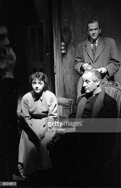 Writer Grahame Greene Lurks In The Background While Dorothy Tutin And Eric Portman Rehearse A Scene
