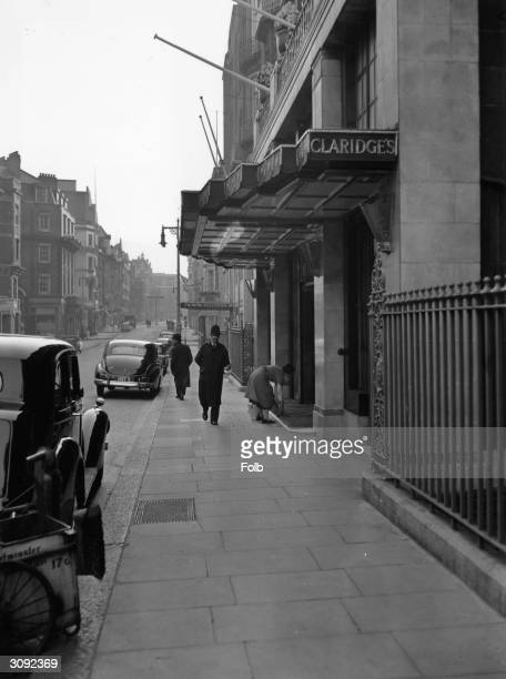 A policeman on duty outside Claridges Hotel in London during a stay at the hotel by Soviet leaders