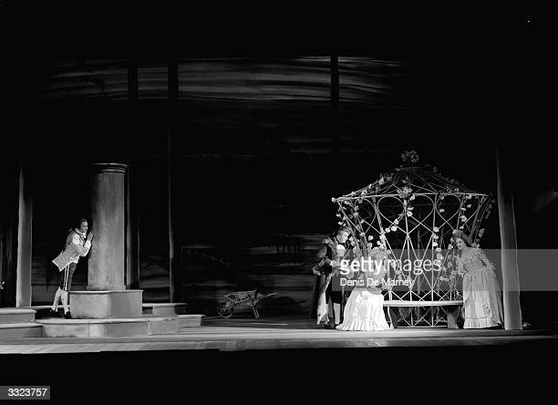 Joan Stuart Anna Pollak John Hargreaves and Frederick Sharpe in a scene from a production of Mozart's 'The Marriage of Figaro' at Sadler's Wells...