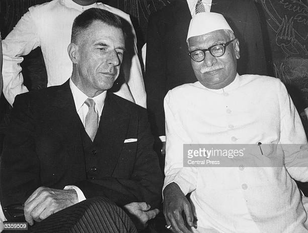 The Canadian born economist and United States Ambassador to India Professor John Kenneth Galbraith with the President of India Dr Rajeera Prasad in...