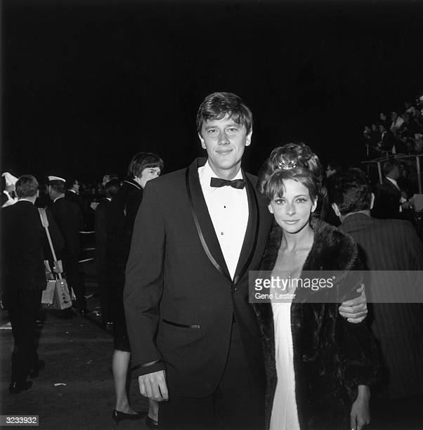 EXCLUSIVE American actor Andrew Prine poses with his arm around his wife Brenda Scott as they attend the 38th Annual Academy Awards Santa Monica...
