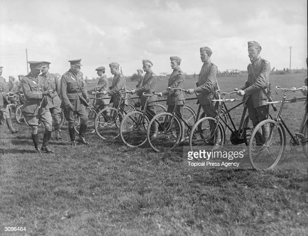 Prince Arthur the Duke of Connaught inspecting the cyclists section of the Somerset Volunteers
