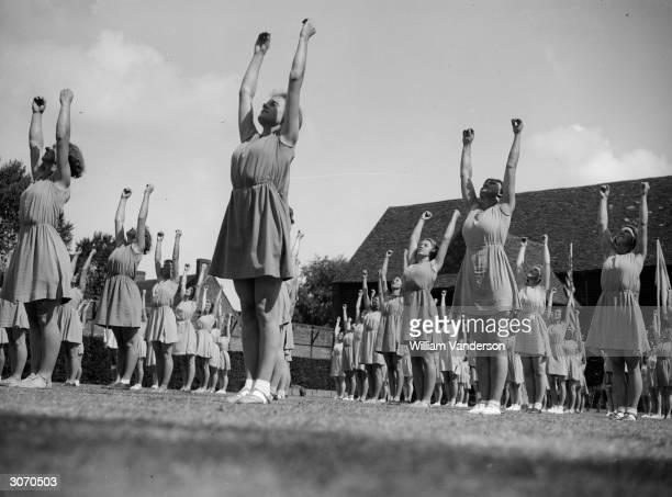 Group of women exercising at an English Scandanavian School.