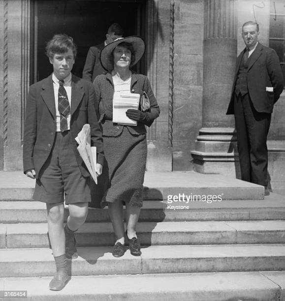 English birth control pioneer and suffragette Dr Marie Charlotte Carmichael Stopes with her son Harry Vernon StopesRoe during a conference at...
