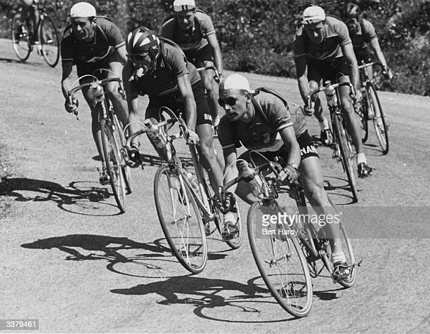 Riders take a hairpin bend in a 60mph drop down a mountain pass during the 1951 Tour de France Luciano Pezzi Fausto Coppi Fiorenzo Lambertini Pierre...