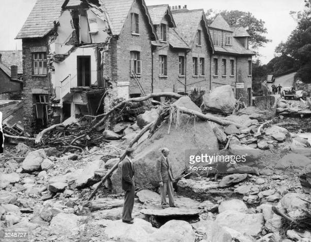 The devastated village of Lynmouth Devon following a flood which destroyed many of the houses and left several villagers dead Original Publication...