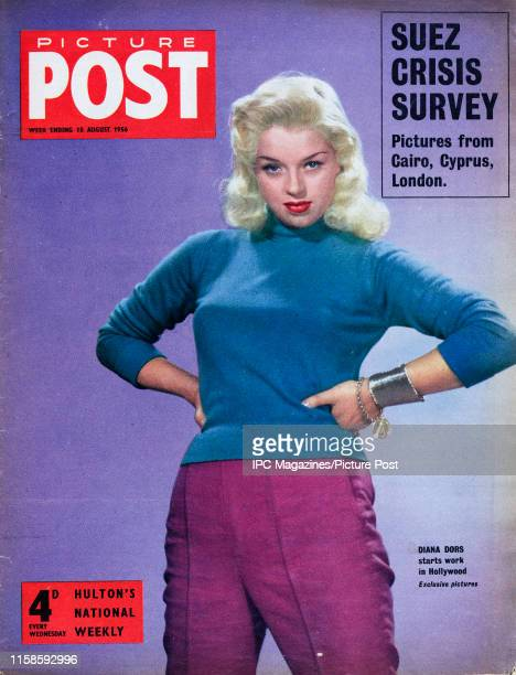 English film actress Diana Dors is featured for the cover of Picture Post magazine. Original Publication: Picture Post Cover - Vol 72 No 7 - pub....