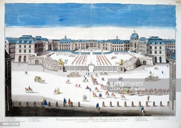 18th century coloured illustration showing the Palace of Versailles a royal chateau in Versailles in the iledeFrance region of France Versailles was...
