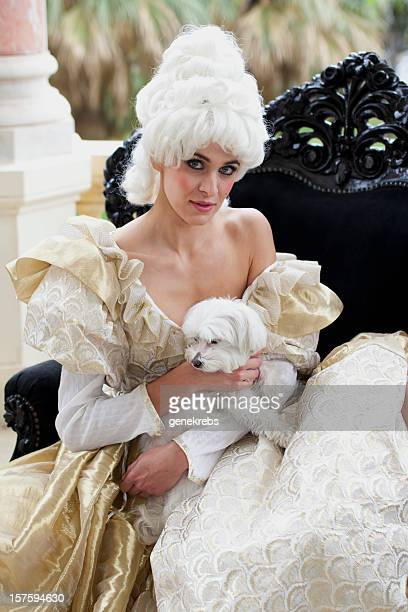 18th Century French Courtesan with small dog