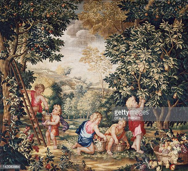18th century Gobelins tapestry depicting putti working in a garden