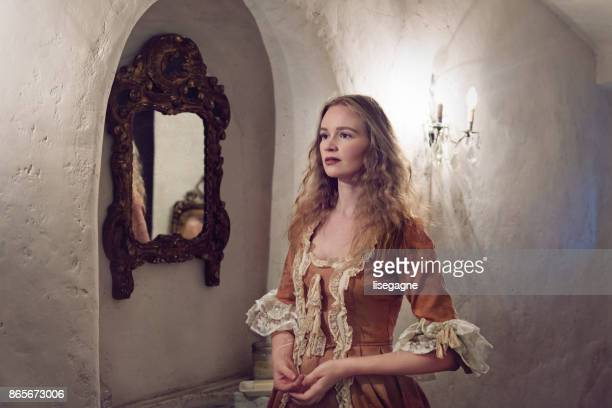 18th century woman in a castle