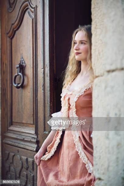18th century woman in a castle - historical romance stock photos and pictures