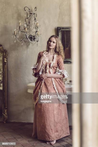18th century woman in a castle - period costume stock pictures, royalty-free photos & images