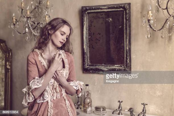 18th century woman in a castle - victorian style stock pictures, royalty-free photos & images