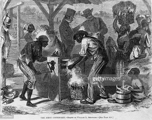 Slaves working with an early cotton gin Original Publication From Harper's Weekly