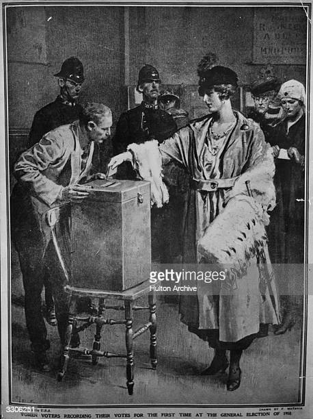 Women queuing up to cast their votes for the first time in the General Election
