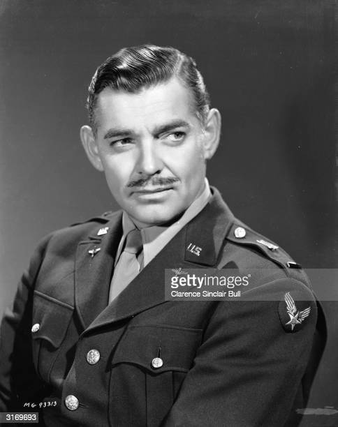 American leading man Clark Gable winner of the 1935 Academy Award for Best Actor for his role in 'It Happened One Night' wearing an air force uniform