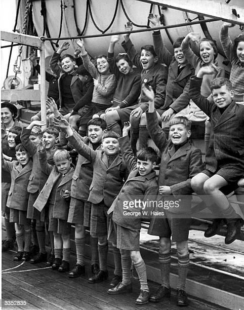 A group of young emigrants from the Fairbridge Farm Schools at Tilbury England sailing on the liner Ormonde to a new life at the Kingsley Fairbridge...