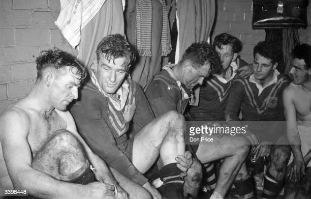 Australian team members off pitch after the 2nd Rugby League International test match against Great Britain at Swinton Original Publication Picture...