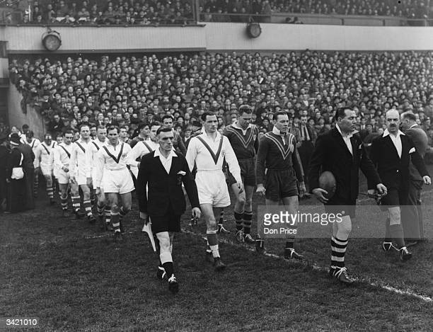 Players walking onto the pitch before the 2nd Rugby League International test match between Australia and Great Britain at Swinton Original...