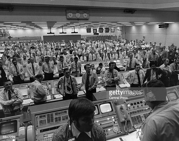 Anxious moments in the control centre for the Apollo 14 mission approximately 15 minutes after the launch