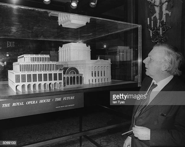 Edmund Ward CBE architect of the proposed extension to the Royal Opera House in Covent Garden standing next to a model of the planned building