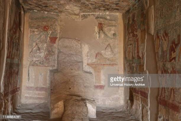 18th Dynasty tomb of Paheri at Elkab south of Thebes Egypt dating from of the New Kingdom in the middle of the 18th Dynasty under the reign of...