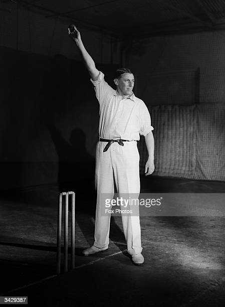 Sussex cricketer Maurice Tate gives a demonstration of bowling technique