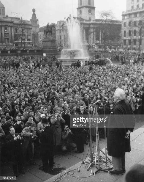 British philosopher mathematician and Nobel laureate Bertrand Arthur William Russell also known as 3rd Earl Russell addressing demonstrators in...