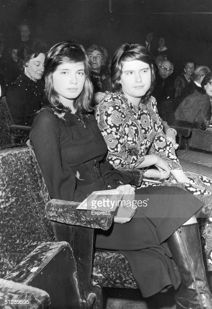 18th February 1971 Italianborn actor and model Isabella Rossellini and her twin sister Isotta Ingrid Rossellini in the audience of the play 'Captain...