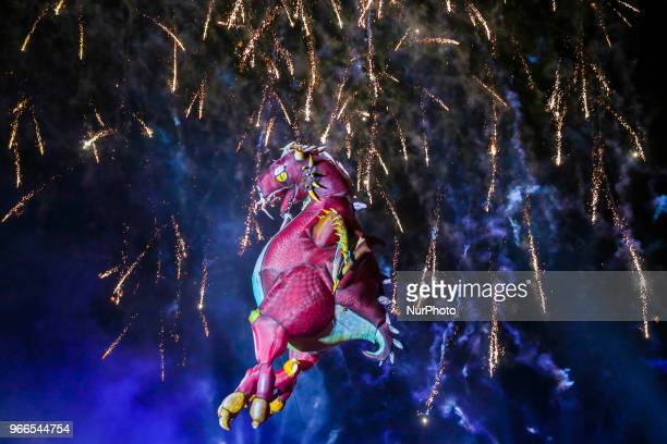18th Great Dragon Parade in Krakow Poland on 2 June 2018 The annual Great Dragon Parade features huge dragons flying across the Vistula river...